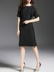 Black Crew Neck Sheath Elegant Cotton-blend Midi Dress