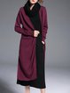 Wine Red Simple Knitted Silk-blend Pockets Coat
