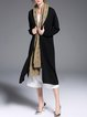 Black Slit Long Sleeve Pockets Silk-blend Knitted Coat