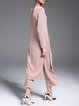 Pink Two Piece Plain Casual Jumpsuit