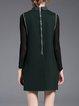Dark Green Mesh Statement Paneled Shift Mini Dress