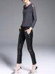 Deep Gray Casual Mesh Paneled Crew Neck Long Sleeved Top