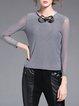 Light Gray Acrylic Crew Neck Mesh Paneled Casual Long Sleeved Top