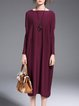 Wine Red Knitted Bateau/boat Neck High Low Silk-blend Midi Dress
