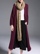 Wine Red Plain Statement Silk-blend Ribbed Coat