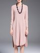 Pink Slit Silk-blend High Low Casual Tunic