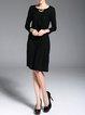 Black Crew Neck Plain 3/4 Sleeve Wool Midi Dress