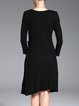 Black Crew Neck Plain 3/4 Sleeve Wool Midi Dress