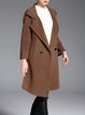 Camel H-line Plain Wool Slit Long Sleeve Pockets Coat
