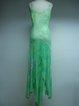 Green Beaded Asymmetrical Spaghetti Casual Holiday Dress