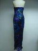 Blue Beaded Halter Sheath Elegant Party Dress