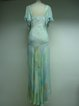 Aqua Frill Sleeve Abstract Beaded Silk Party Dress