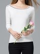 White Long Sleeve Solid Bateau/boat Neck Sweater