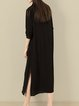 Black Asymmetric Silk Crew Neck 3/4 Sleeve Midi Dress