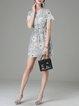 Multicolor Printed V Neck Sweet Mini Dress