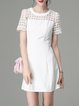 White Girly A-line Plain Mini Dress