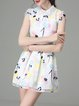 Multicolor Organza Short Sleeve Abstract Peter Pan Collar Mini Dress