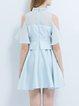 Light Blue A-line Cold Shoulder Short Sleeve Girly Mini Dress
