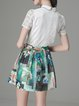 White Short Sleeve Two Piece Shirt Collar Floral Mini Dress