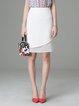 White Woven Work Plain H-line Midi Skirt
