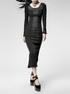 Black Plain Long Sleeve Cotton-blend Bodycon Midi Dress