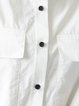 White Short Sleeve Buttoned Pockets Plain Blouse