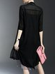 Black Chiffon Plain 3/4 Sleeve Paneled Coat