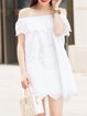 White Girly Cotton H-line Embroidered Mini Dress