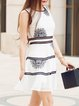 White Casual A-line Embroidered Mini Dress