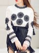 White Geometric Casual Embroidered Long Sleeved Top