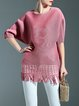 Pink Polyester Crew Neck Simple Ribbed Tunic