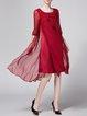 Crew Neck Vintage Embroidered 3/4 Sleeve Midi Dress