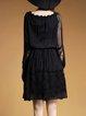 Black Crocheted Plain Boat Neck Work Midi Dress
