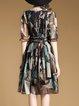 Casual Shirred Chiffon A-line Half Sleeve Midi Dress