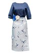 Blue Printed Floral Half Sleeve Two Piece Midi Dress with Belt