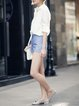 Blue Denim Bandage Casual Plain Shorts