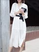 Casual Shift Stripes 3/4 Sleeve Slit Midi Dress