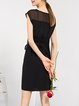 Black Silk Crew Neck Sleeveless A-line Mini Dress