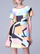 Statement Short Sleeve Geometric Crew Neck Sheath Mini Dress
