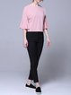 Pink Plain Crew Neck Sheath Sweet Short Sleeved Top