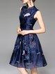Blue Sleeveless Vintage Embroidered Crew Neck Midi Dress