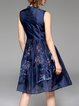 Sleeveless Vintage Embroidered Crew Neck Midi Dress