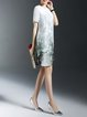 Multicolor Short Sleeve Floral Ramie Crew Neck Midi Dress