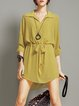 Yellow Shirred Simple Shirt Collar Mini Dress