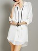 White Shirt Collar Long Sleeve Chiffon Plain Mini Dress