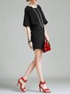 Black Simple Plain Shirred Mini Dress