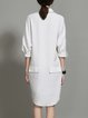 White Plain Long Sleeve V Neck Shirt Dress