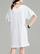 Woven H-line Solid Simple Frill Sleeve Mini Dress