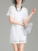 White Two Piece Mesh Plain Simple Mini Dress