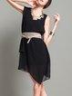 Sleeveless Asymmetric Casual Plain Mini Dress
